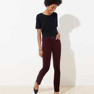 Loft Burgundy Modern Skinny Corduroy Pants 24 00